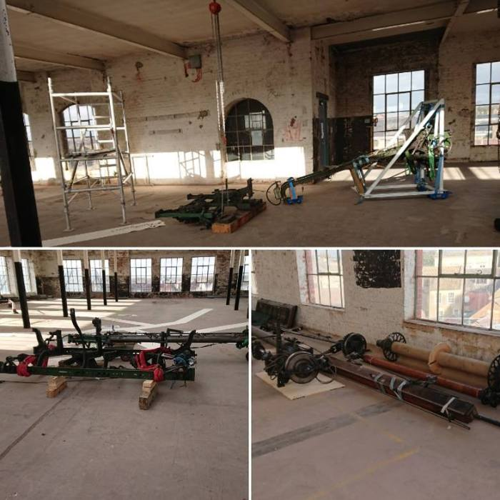 Dobcross loom being moved into its new location on the top floor of Trowbridge Museum