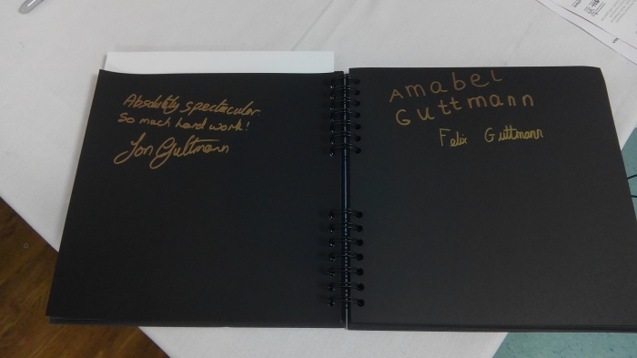 Guttmann family entries in the visitor book